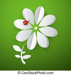 Flower - Paper Cut Abstract Flower with Red Ladybird - Ladybug on Green Background