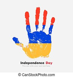 Handprint with the Armenian flag in grunge style - Hand...