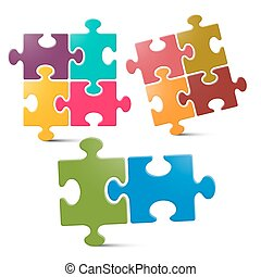 Puzzle - Jigsaw Pieces on White Background