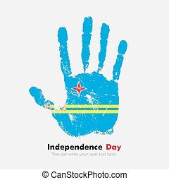 Handprint with the Flag of Aruba in grunge style - Hand...