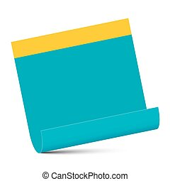 Empty Blue Paper with Yellow Edge Isolated on White Background