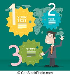 Retro Infographics Template with Business Man on Green Background