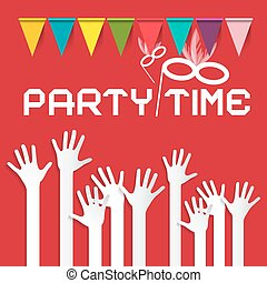 Party Time Vector Illustration with Flags and Risen Hands on...