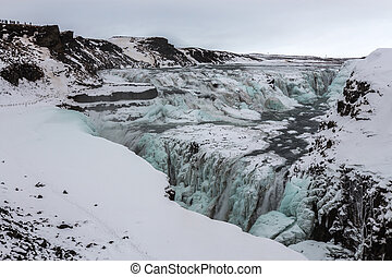 Gullfoss Waterfall in Iceland in the Winter