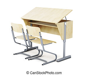 3d image of school desks and chairs isolated on white background