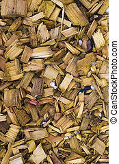 Wood chips - Wood chips, vertical, suitable for backgrounds...
