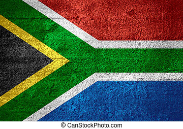 flag of South Africa or South African banner on rough...