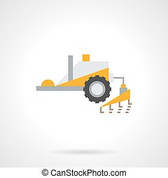 Plowing tractor flat color vector icon - Yellow tractor with...