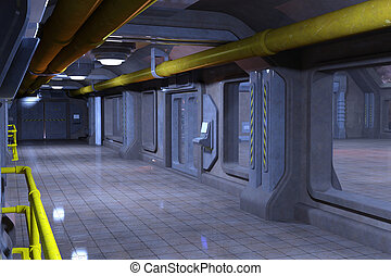 Sci-Fi corridor interior design 3d illustration