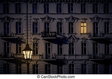 night shot of a beautiful old house in Kreuzberg, Berlin