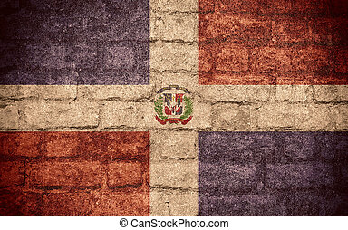 flag of Dominican Republic or Dominican banner on brick...