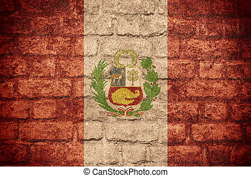 flag of Peru or Peruvian banner on brick texture