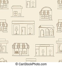 Store buildings seamless retro vector