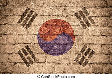 flag of South Korea or Korean banner on brick texture