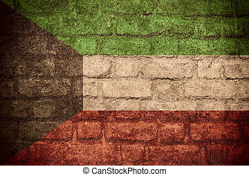 flag of Kuwait or Kuwaiti banner on brick texture