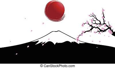 The sun rises over Mount Fujiyama w