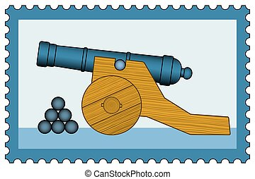 Cannon on stamp - Illustration of the old cannon icon on...