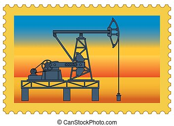 Oil pumpjack stamp - Illustration of the postage stamp with...