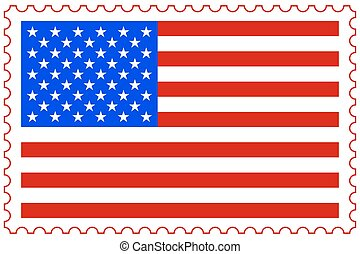 USA flag on stamp - Illustration of the USA flag on postage...