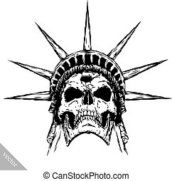 black and white engrave evil vector skull face - black and...