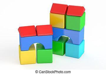 blocks building, toy. 3D rendering