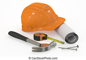 Construction concept. Hard hat with blueprint and tools, 3D rendering