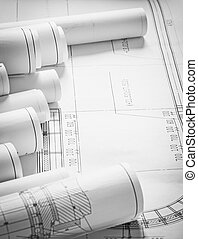 A lot of construction plans architecture and building...