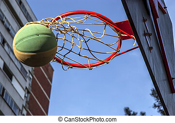 Street basketball game - photo of score at a street...