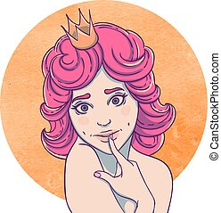 Portrait of curly young beautiful girl Princess with a crown...