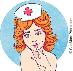 Portrait of curly young beautiful girl A nurse with a cap on...