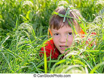 Smiling little boy peering out from lush grass - Smiling...