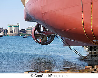 Ship launching - ship launching in shipyard