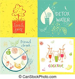 Hand-drawn illustration for fresh health juice and food in...