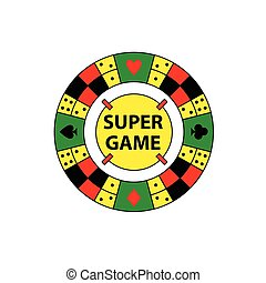 Vector circle logo super game. Desktop gambling chess,...