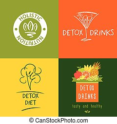 Set of vector logo detox drink, diet and holistic nutrition...