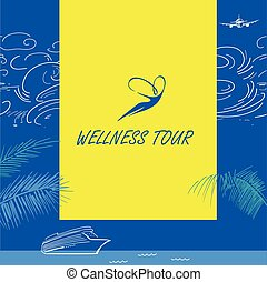 Vector logo wellness tour. Cruise liner. Color background...