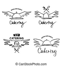 Vector logo for catering restaurant cafe. Open air party. Hand d
