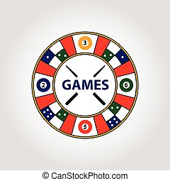 Vector circle logo. Desktop gambling cards, billiards,...