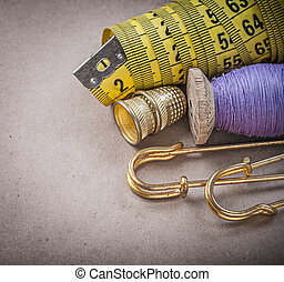 Measuring flexible ruler thread spool safety pins thimbles