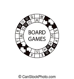 Vector circle logo board game White and black illustration...