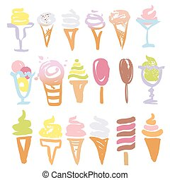 Set of vector illustrations hand-drawn sweets, ice cream.