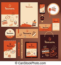 Set of vector template for tea room. Illustration with sweet...
