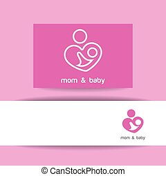 mom and baby logo identity