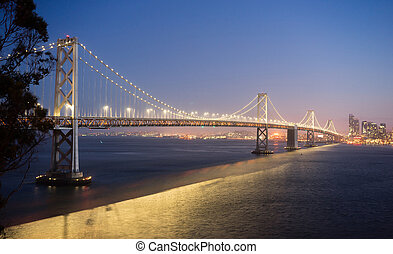 Bay Bridge Crossing San Francisco Skyline Pacific West Coast...