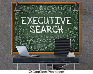 Executive Search on Chalkboard with Doodle Icons.