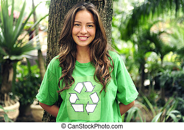 Llevando, Camiseta, ambiental, activista, bosque, reciclar