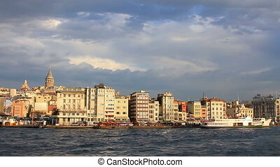 Istanbul harbor, Karakoy Port City ferry berthed in port and...