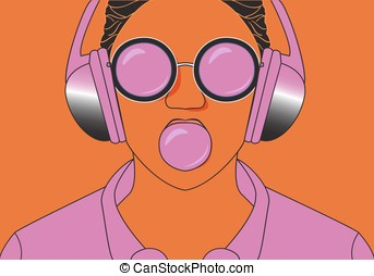 Hipster girl listening to music on headphones and chews cud....
