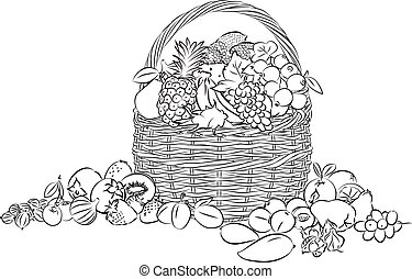 Fruits basket - vector illustration of basket full of fruits...