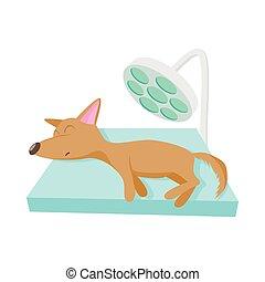 Dog checkup at vet icon, cartoon style